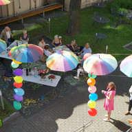 Senior club meeting in the garden