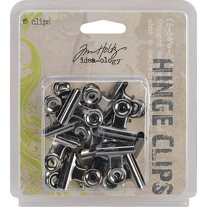 "Idea-Ology Metal Hinge Clips 1"" 15/Pkg Antique Nickel"