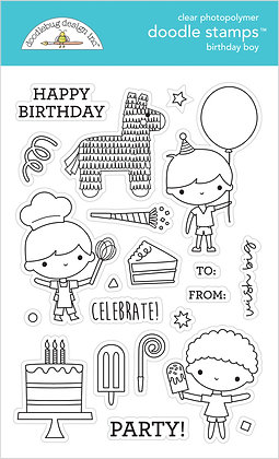 Birthday Boy Doodle Stamps