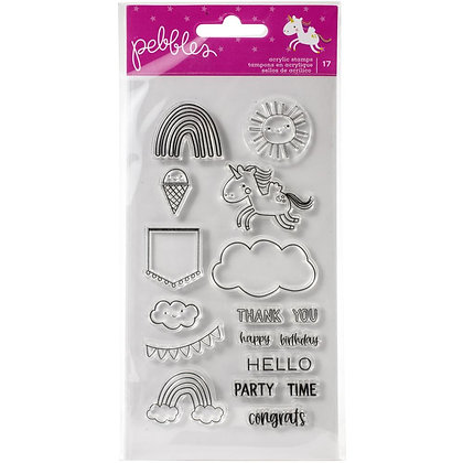 Pebbles Live Life Happy Clear Stamps