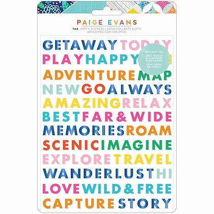 Paige Evans - Go The Scenic Route Puffy Stickers 146 Pack - Word