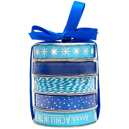 Premium Ribbon & Twine 5/Pkg Winter - Blue