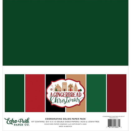 "Solids Paper A Gingerbread Christmas 12""X12"""