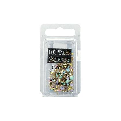 Mini Metal Paper Fasteners 3mm 100/Pkg Round - Pastel