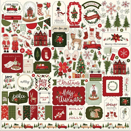 "Hello Christmas Cardstock Stickers 12""X12"""