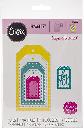 Sizzix Framelits Die Set 7PK - Tags, Dotted