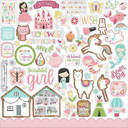 "All Girl Cardstock Stickers 12""X12"" Elements"