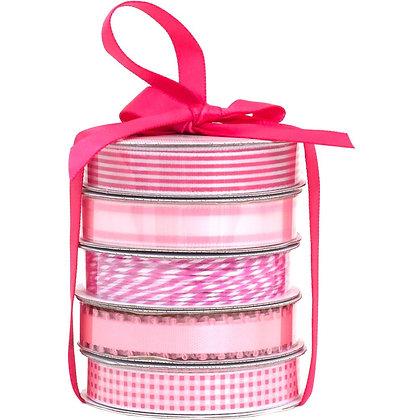 Premium Ribbon & Twine 5/Pkg  Spring Pink