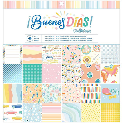 "American Crafts Single-Sided Paper Pad 12""X12"" 48/Pkg Obed Marshall Buenos Dias"