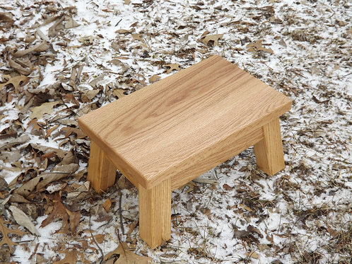 Solid oak rectangle step stool, riser