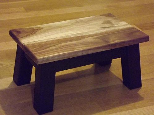 walnut sapwood rectangle stool, riser painted base