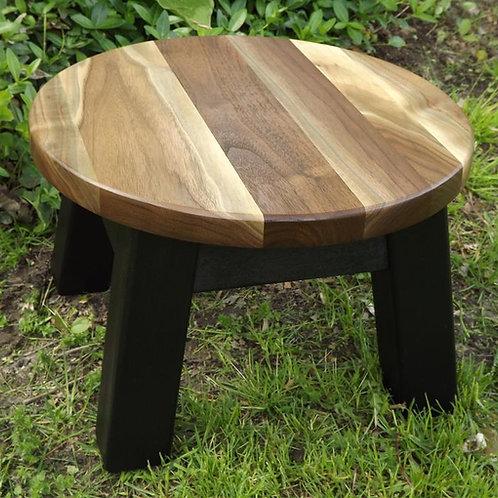 walnut sapwood round stool, riser painted base