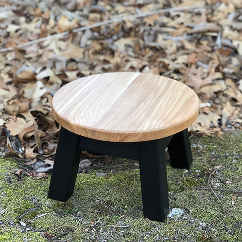 Modern round wood top painted base