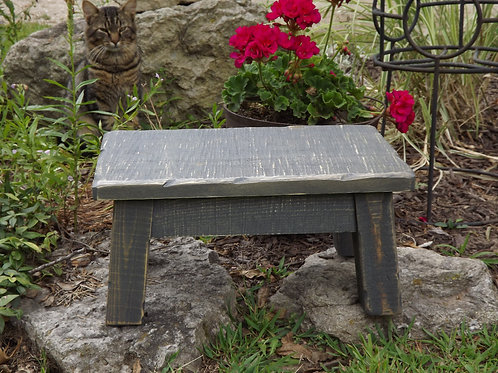 "Rustic gray step stool rectangle 8"" high"