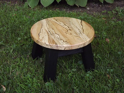Spalt maple round stool, riser painted base