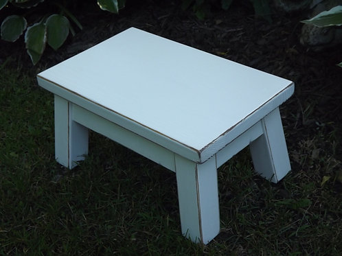 "wood step stool rectangle 8"" high white"