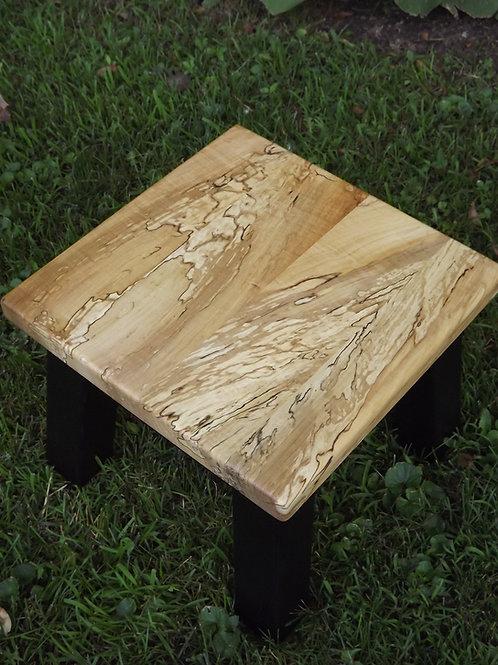 Spalt maple square stool, riser painted black base