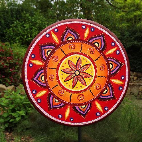 Good Vibes Mandala Gartenstecker rund in Rot