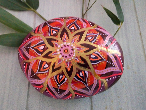 Briefbeschwerer, Mandala Kunst, Stein mit Mandala, Rot