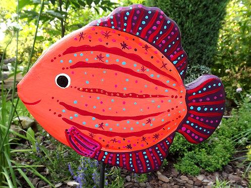 Kugelfisch - Gartenstecker aus handbemaltem Holz
