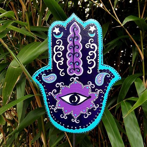 Gartenskulptur spirituell, Hamsa Hand Lila, Mint