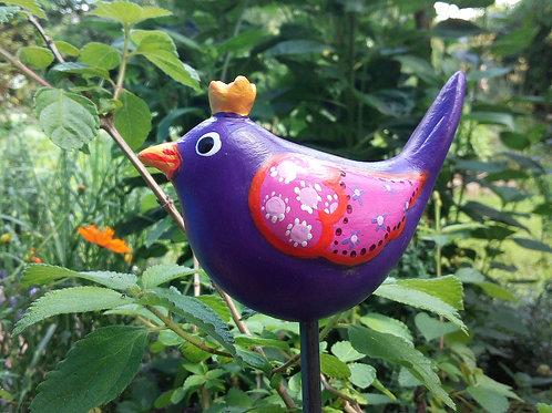 "Lila Keramik Gartenstecker Zaunkönigin ""Violetta"""