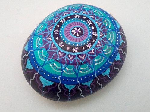 Briefbeschwerer Mandala Stein Blau, Lila,  Deko Stein