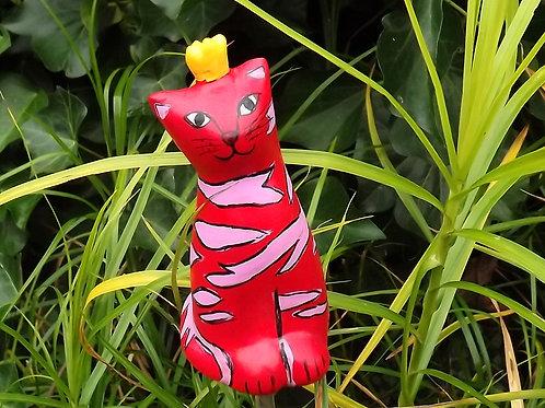 Rote Blumenstecker Katze mit Krone, Katze Keramik