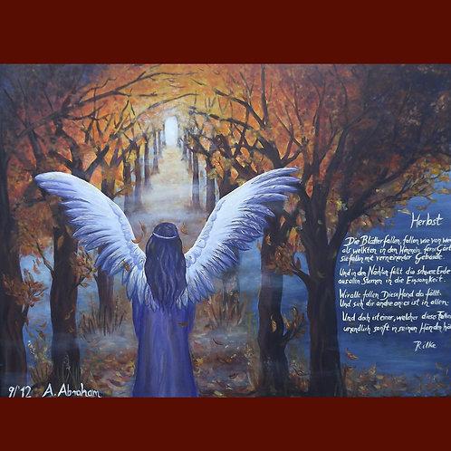 Kunst, Gemälde spirituell mit Engel, Herbst, Rilke
