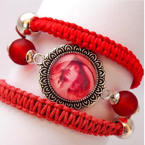 Makrameearmband, Wickelarmband, Schutzengel, Rot