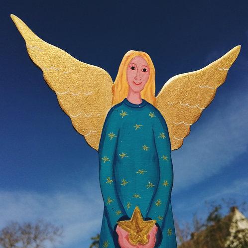 Weihnachtsdeko handbemalter, großer blauer großer Engel aus Holz mit Stern auf B
