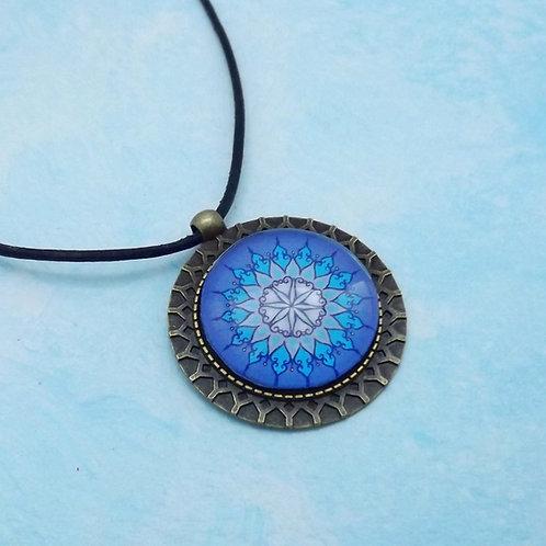 Boho Schmuck, medaillon mit Mandala Blau