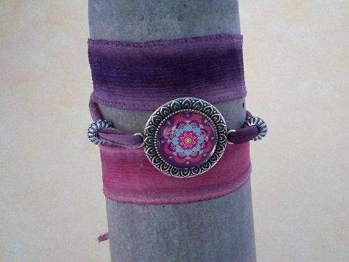 Habotaiseide Armband, Mandala, Wickelarmband, boho