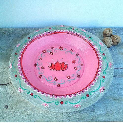 Rosa Vogeltränke aus Beton mit Lotusblume, wetterfest