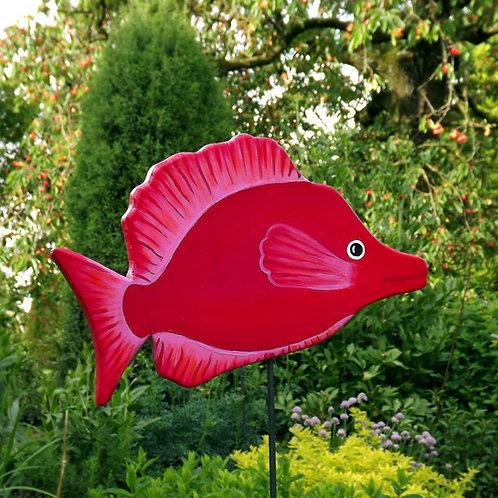 """Großer Gartenstecker """"Feuerfisch"""" in Rot"""