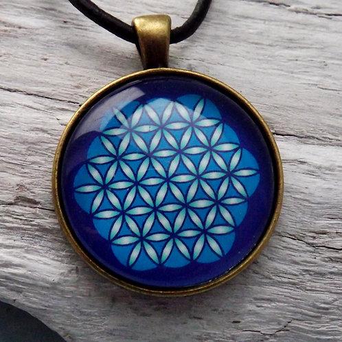 """Lederband Halskette mit Amuett """"Flower of Life"""", Blau"""