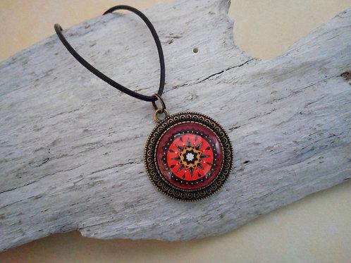 Halskette Amulett indianisch Rot, Boho Schmuck ethno