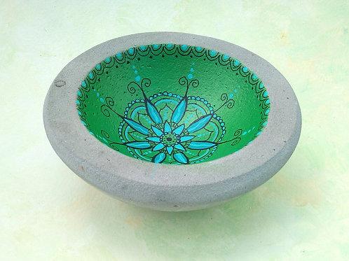 handbemalte, grüne Betonschale , Mandala orientalisch