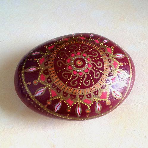 Mandala Kunst, Mandalastein Rot, paperwight spirituell