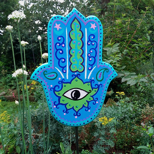 Gartenstecker Hamsa Hand türkis, Schutzsymbol