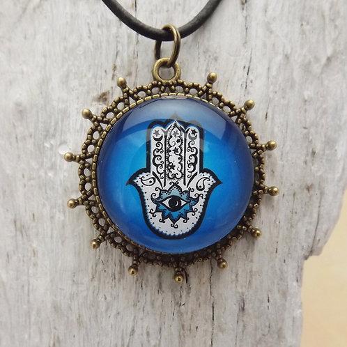 Schutzsymbol Hamsa, Hand of Fatima, Cabochon Blau