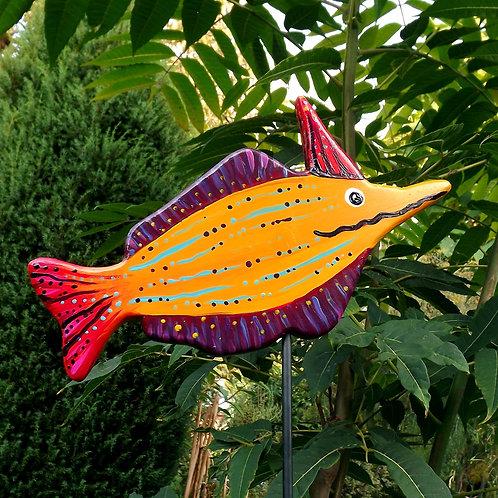 Gelber Gartenstecker Fisch mit Einhorn, Gartendeko