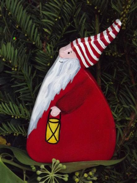 """Weihnachtsdeko Holz """"Wichtel"""" Tomte"""" ,  rot mit Laterne"""