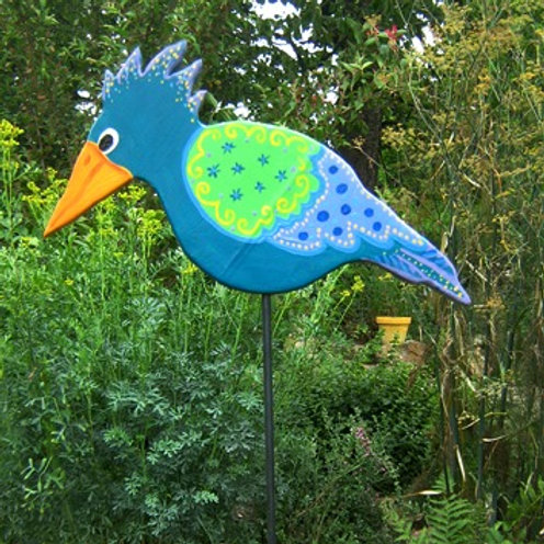 """Gartenstecker Vogel """"Manou"""" grün, Gartendeko"""