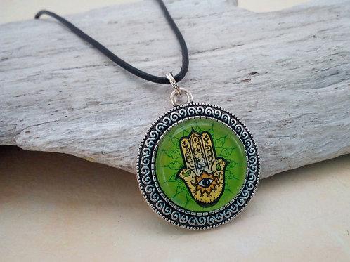 Kette mit Hamsa Hand Grün, Schutzsymbol