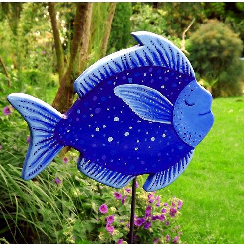 "Großer, Holz-Gartenstecker ""Seliger Blaumondfisch"""