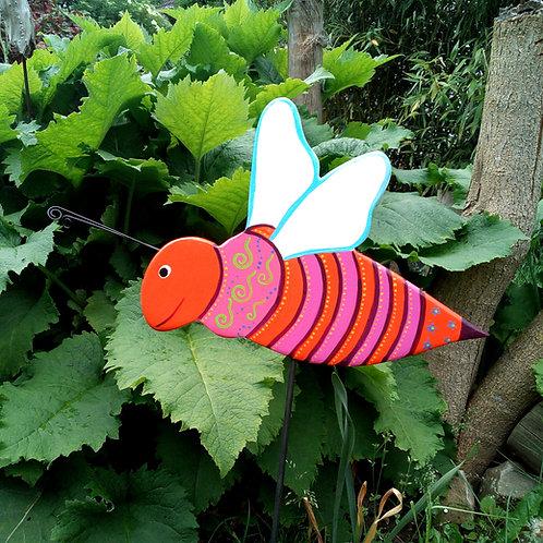Gartendeko, Gartenstecker Biene aus Holz, bunt, orange, pink, Pflanzenstecker ha