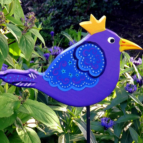 "Vogel Gartenstecker Zaunkönig ""Lovisa"" lila, Gartenkunst"
