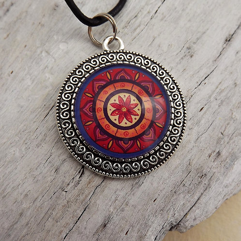 Mandala Amulett, Boho Schmuck Rot, Schmuck