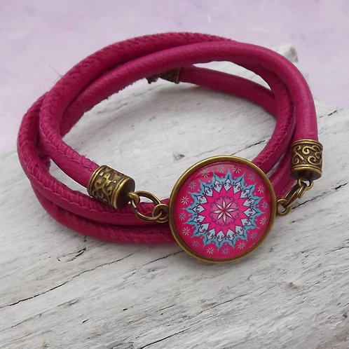 Lederarmband Mandala pink, Wickelarmband Leder